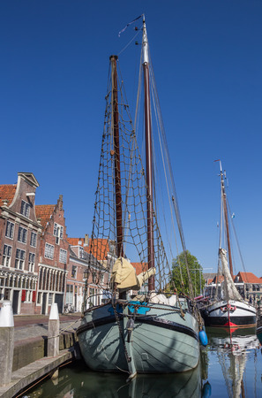 hoorn: Traditional sailing boat in the harbor of Hoorn, Holland