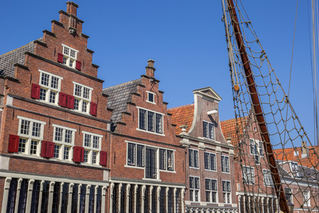 Facades of old houses in the harbor of Hoorn, Netherlands Stock Photo