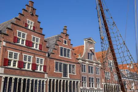 Facades of old houses in the harbor of Hoorn, Netherlands Standard-Bild