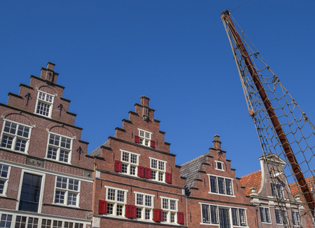 hoorn: Facades of old houses in the harbor of Hoorn, Netherlands Stock Photo