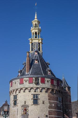 Detail of the historical tower Hoofdtoren in Hoorn, Netherlands Editorial