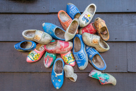 zaanse: Decorated dutch wooden shoes in Zaanse Schans, Netherlands