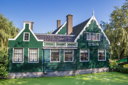 Typical dutch wooden house in Zaanse Schans, The Netherlands