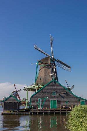 zaan: Historical dutch windmill in Zaanse Schans, Netherlands