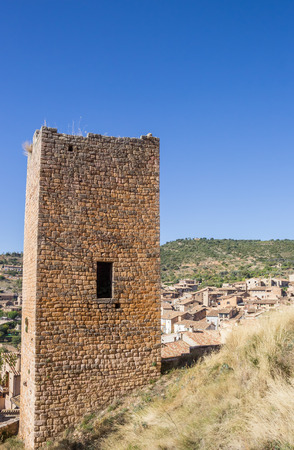 Medieval watch tower above the mountain village of Alquezar, Spain