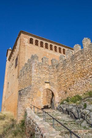 Entrance of the medieval castle of Alquezar, Spain Editorial