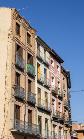 huesca: Colorful apartment buildings in the center of Huesca, Spain