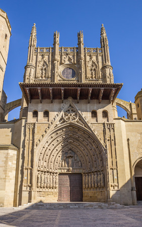 huesca: Entrance to the cathedral in Huesca, Spain Stock Photo