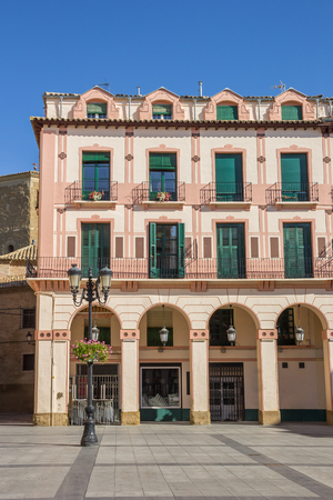 Old building at the central square in Huesca, Spain