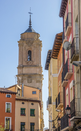 lorenzo: Colorful houses and San Lorenzo church in Huesca, Spain Stock Photo