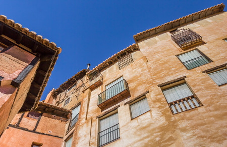spanish houses: Colorful houses of medieval spanish city Albarracin Stock Photo