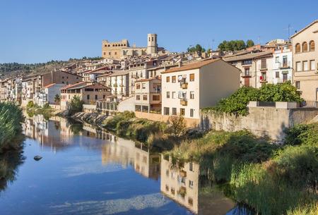 Matarranya river and Valderrobres medieval village in Aragon, Spain