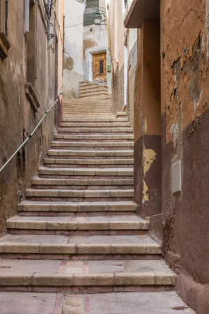 Narrow Backstreet With Steep Stairs In Tarazona, Spain Stock Photo    67067372