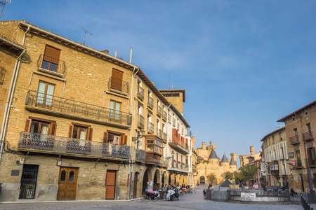spanish architecture: Houses and restaurants at the central square of Olite, Spain
