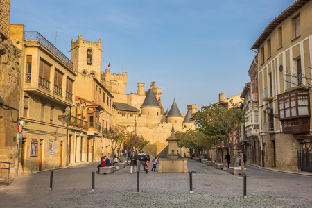 central square: People at the central square of Olite, Spain Editorial