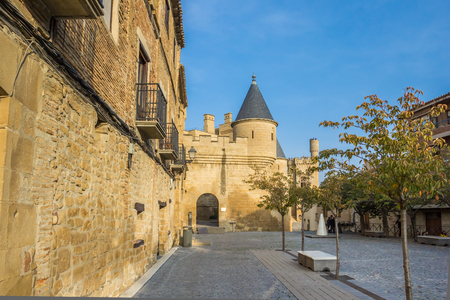 Cobblestoned square in the historical center of Olite, Spain Editorial