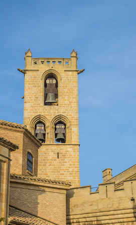 Church tower in the historical center of Olite, Spain Stock Photo