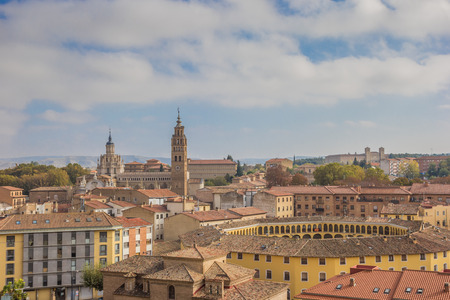 bullring: Cityscape with the cathedral and bullring of Tarazona, Spain Stock Photo