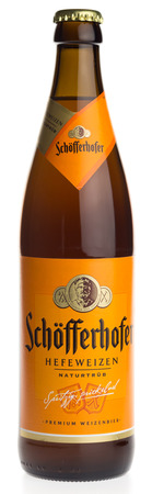 Bottle of Schofferhofer dark wheat beer isolated on a white background