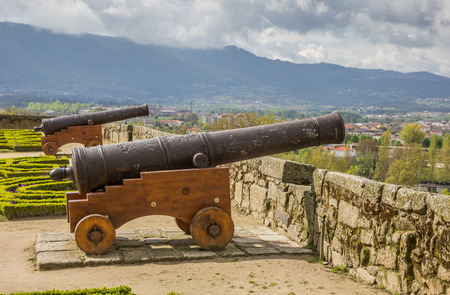 Cannon in the garden of Chaves castle in portugal