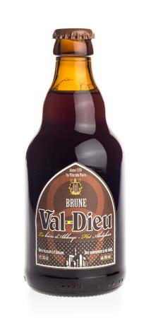 brune: Bottle of Val Dieu Brune dark beer isolated on a white background