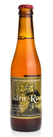 Bottle of Golden Raand Pagode craft beer from Groningen in the Netherlands, isolated on a white background