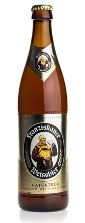 Bottle of German Franziskaner wheat beer, isolated on a white background Editorial
