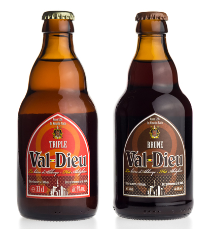 brune: Bottle of Belgian Val Dieu Brune and Triple beer isolated on a white background