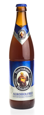 Bottle of German Franziskaner non alcoholic wheat beer, isolated on a white background