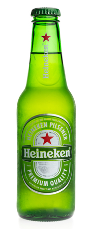 pilsener: Bottle of Heineken Pilsener beer isolated on a white background Editorial