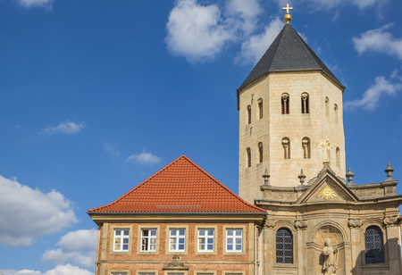 Gaukirche church at the central market square of Paderborn, Germany Stock Photo