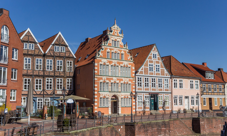 Historical houses at the central canal in Stade, Germany