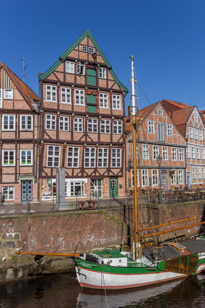 Old ship in the historical harbor of Stade, Germany