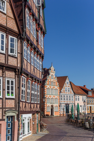 Half timbered houses at the historical harbor of Stade, Germany Editorial