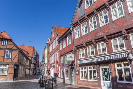 Cobblestoned street in the center of Stade, Germany Editorial