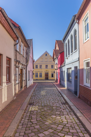 Colorful cobblestoned in the center of Verden, Germany