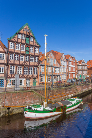 Historical ship in the old harbor of Stade, Germany