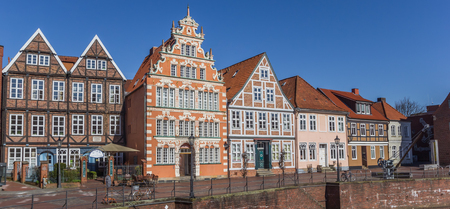 Panorama of the old harbor in Hanseatic city Stade, Germany Editorial