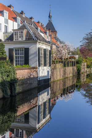 holland: Canal with reflected houses in the center of Amersfoort, Holland