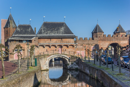 Canal and city gate Koppelpoort in Amersfoort, Netherlands