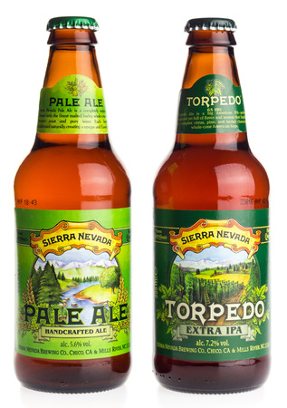 sierra nevada: Bottles of American Sierra Nevada Pale Ale and Torpedo Extra IPA beer isolated on a white background