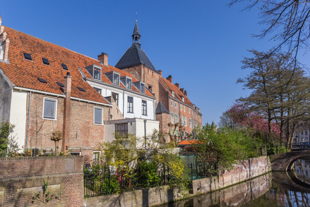 Old houses along a canal in Amersfoort, Holland Stock Photo