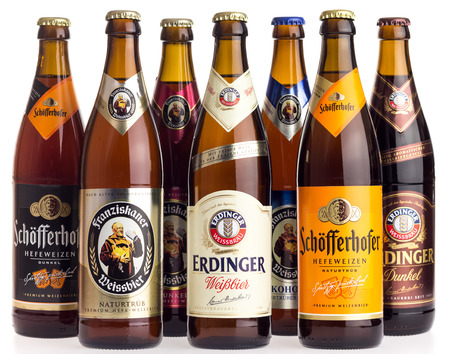 Collection of German Schofferhofer, Franziskaner and Erdinger wheat beers isolated on a white background Editöryel