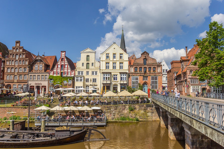 Old bridge in the historic harbor of Luneburg, Germany
