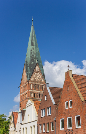 johannes: Skyline of Luneburg with the tower of the St. Johannis church in Germany Stock Photo