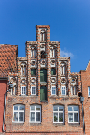Decorated facade in the old town of Luneburg, Germany
