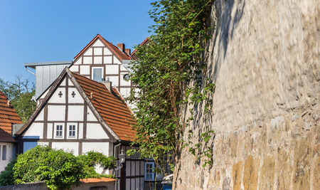 Half-timbered houses and city wall in Minden, Germany
