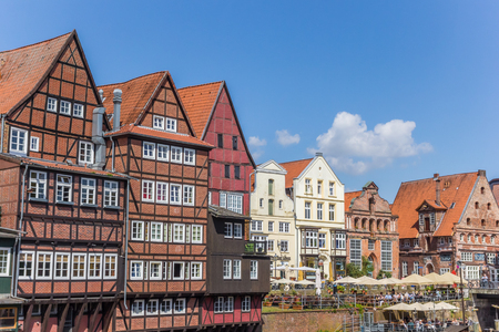 Half-timbered houses at the old harbor of Luneburg, Germany Editorial