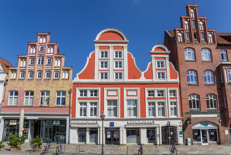Shops in old buildings in the historic center of Luneburg, Germany