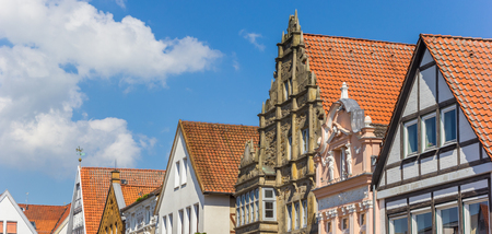 Panorama of decorated facades at the central market square of Stadthagen, Germany